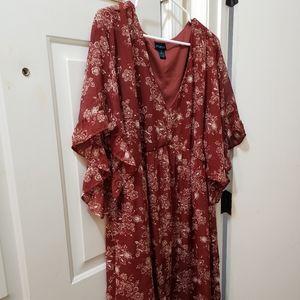 Burgundy flowy dress- worn once